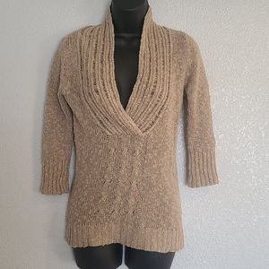 52 Weekends Tan V-Neck 3/4 Sleeve Sweater